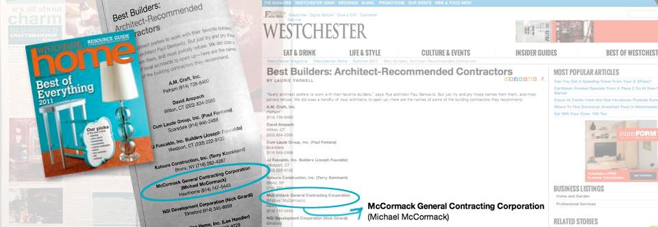 Westchester Magazine Awards Mccormack
